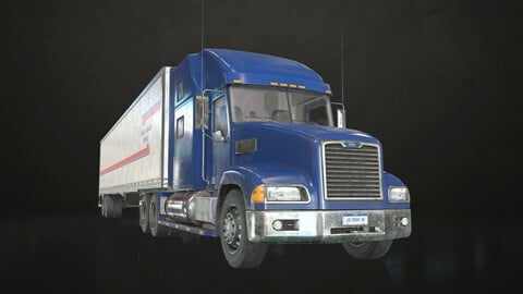 Semi Truck Van Trailer - Low Poly