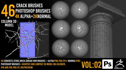 46 Zbrush Crack Brushes + 4k alpha + 2k normal + Photoshop Brushes+3dmodel - VOL 02
