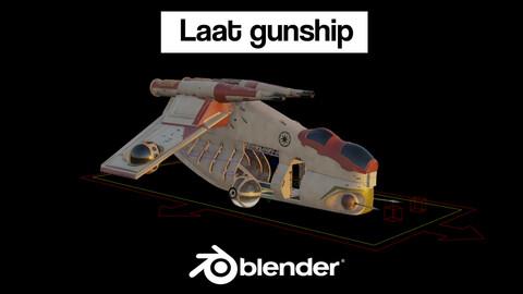 Laat gunship (blendfile, RIG, OBJs, FBXs, textures)