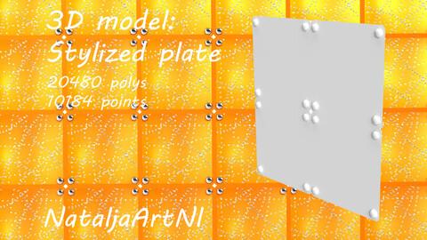 Metal plate. Stylized 3D model