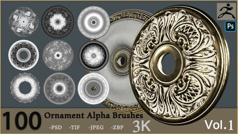 Ornament Alpha Brushes And Alphas (100)