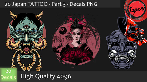20 Japan Tattoo - Part 03- DeCals PNG - High Quality 4096