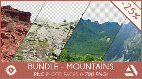 Bundle Mountains & Rocks - PNG Photo Packs