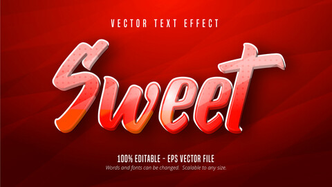 Sweet text, red color style cartoon editable text effect