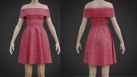 Red Off shoulder Print Dress 3D model