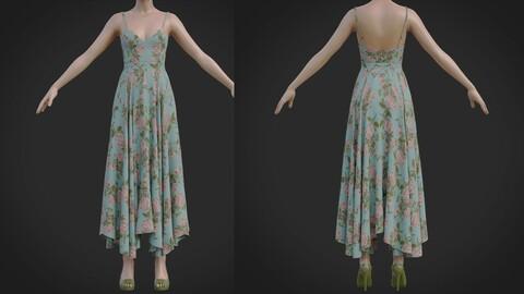 3D Flowy Floral Summer Maxi Dress