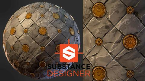 Stylized Ornamental Floor Tiles - Substance Designer