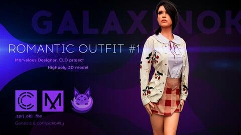 Female Romantic Outfit. Avatar genesis 8 Female. Marvelous Designer, Clo3d project. 4K PBR Textures. .OBJ.FBX files