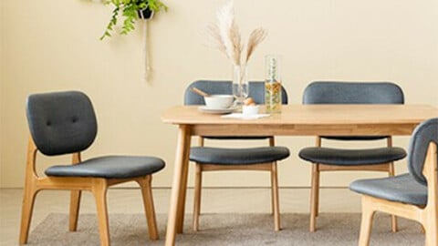 Scandic family rounding low wooden dining table set for 4 people