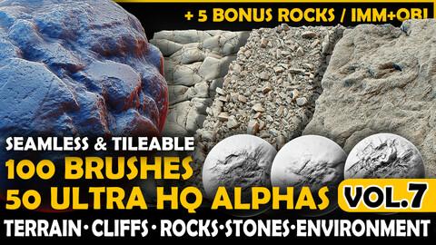 Ultra HQ Terrain / Rock Seamless Sculpt Zbrush brushes + Alphas (Blender, Substance, etc.) Vol.7
