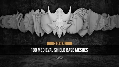 100 Medieval Shield Base Meshes