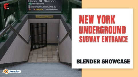 Subway Entrance - New York Subway Station Low-poly 3D model