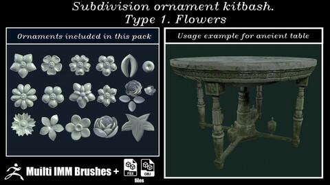 Subdivision ornament kitbash. Type 1. Flowers