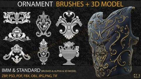 Ornament IMM & Standard Brushes+3D model+ Alpha 4K (V.04)