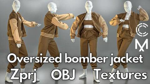 Marvelous Designer + Clo3d + OBJ + Texture : Oversized bomber jacket