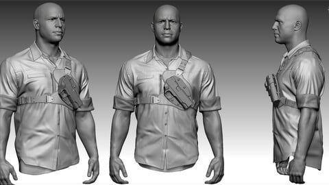Joe. High Poly cloth and low poly head. 2 versions.