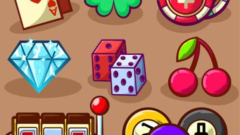 Casino icons set, cartoon style.vector art