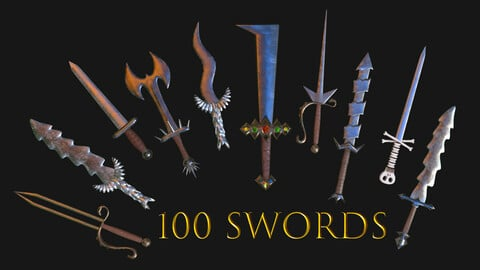 100 Swords Collection Pack Low-Poly for Games PBR