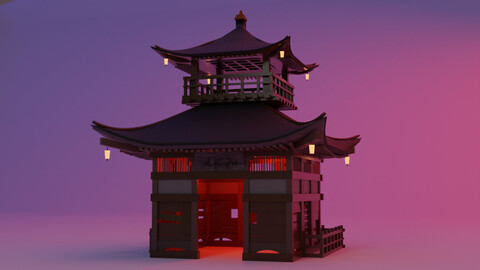 Fureai-Kannon-do hall Japanese Garden Structures Pavilions Low-poly 3D model