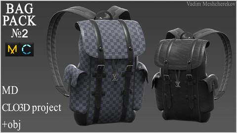 Bag Pack №2. Marvelous Designer / Clo 3D project +obj