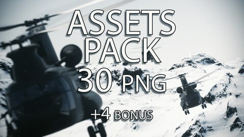 PNG Resources Pack - Ch-47 Chinook Cargo Helicopter - 30 Poses + 4 Bonus - Including Rotor Blur, Door Gunners, Ramp and Pilots onboard