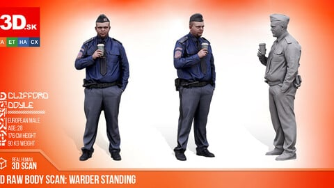Cleaned 3D Body scan Warder Standing