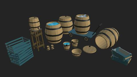 POLYGON Barrels, Bucket, Basin, Cup, Boxes and Cart