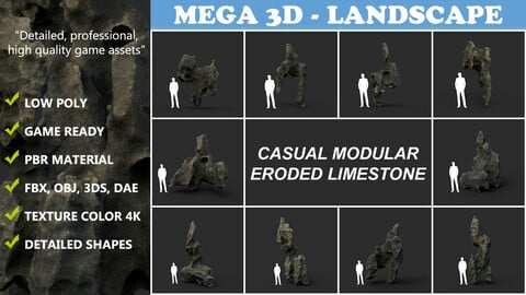 Low poly Casual Eroded Limestone Modular 210722