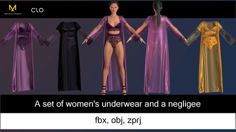 Sexy Lingerie  in 3 colors. Marvelous Designer
