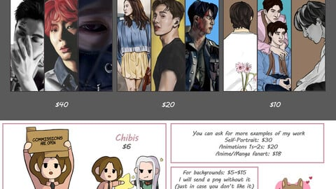 Art Commissions: Realistic, Semi-Realistc & Rough Sketch with EXTRAS