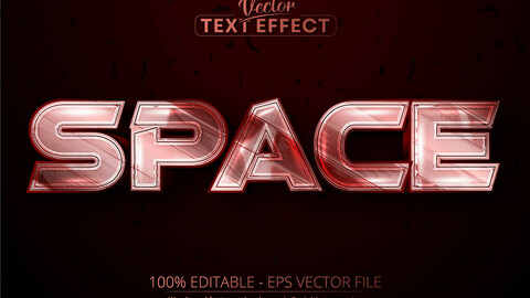 space editable text effect, shiny metallic red color and silver font style