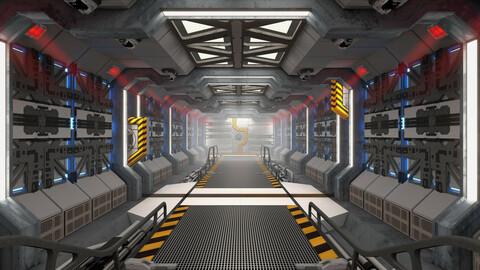 Spaceship Corridor Loop (4K) - Fog Version
