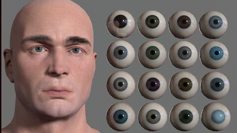 16 Colors of Realistic Eye Low-poly