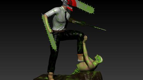 Chainsaw man Diorama Denji vs zombie