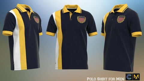 Polo Shirt for Men, marvelous designer,clo3d