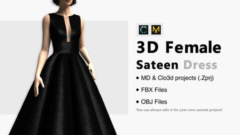 Black Sateen Dress. Marvelous Designer, Clo3d project + OBJ/FBX files