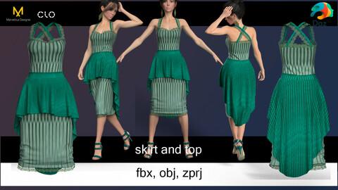 Top and skirt.  Marvelous Designer