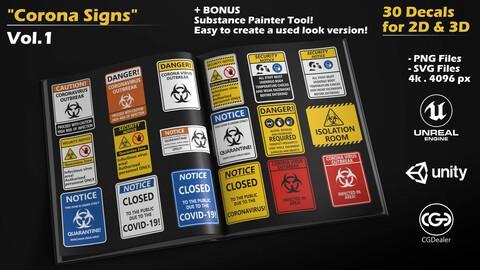 Corona Hazard Signs - Vol.1 - 30 Decals