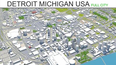 Detroit City Michigan 3D Model