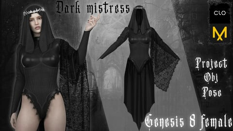 Dark mistress. Clo3d/Marvelous designer. Zprj/Obj/Pose