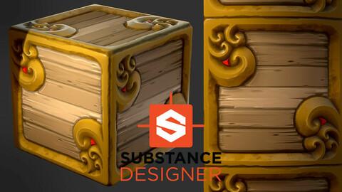Stylized Fantasy Crate - Substance Designer