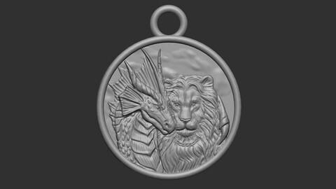 DRAGON PENDANT AND LION