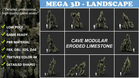 Low poly Cave Eroded Limestone Modular 210727