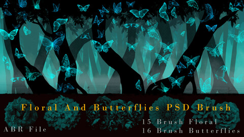 Floral And Butterflies PSD Brush