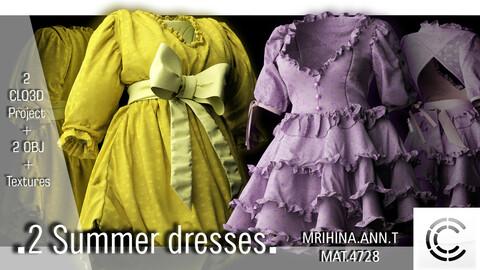 .2 Summer dresses. Clo3d. Marvelous Designer