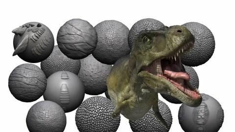 Dinosaur/creature tileable alpha textures with T Rex bust (ztool)