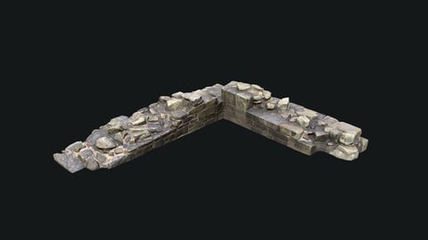 Game Ready Castle Ruins - Part of a Wall