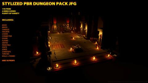 PBR Stylized Dungeon Pack Modular JFG - FBX Files + UE4 Uasset Pack 4.26.0
