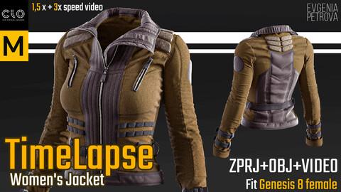 Women's jacket.  Clo3d, Marvelous Designer project  + OBJ + Video.