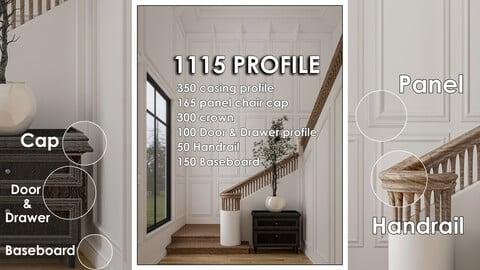 1115 Molding Profile CASING +PANEL CHAIR CAP +CROWN +DOOR & DRAWER +HANDRAIL +BASEBOARD